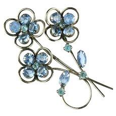 Blue and Aqua Rhinestone Trio of Flowers Vintage Brooch