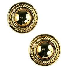 Vintage Round Goldtone Rope Textured Earrings