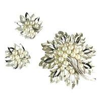 Trifari Imitation Pearl Crystal Rhinestone Openwork Leaves Brooch and Earrings