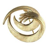 Vintage Trifari Brushed Goldtone Swirls Brooch