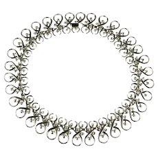 Trifari Silvertone Vintage Squash Blossom Necklace