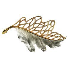 JJ Vintage Silvertone Goldtone Cutout Leaf Brooch