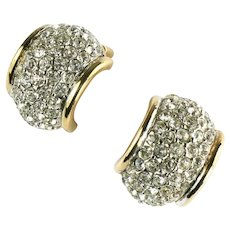 Joan Rivers Goldtone Pave Crystal Rhinestone Chaton Half Hoop Earrings
