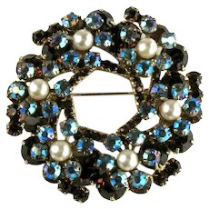 DeLizza and Elster Juliana Shades of Blue and Dark Topaz Imitation Pearl Flower Motif Brooch