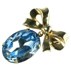 Coro Vintage Bow and Blue Rhinestone Dangle Brooch