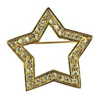 Vintage Goldtone Star Chaton Crystal Rhinestone Brooch