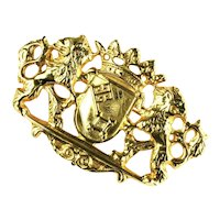 Dotty Smith Vintage Griffons Crown Shield Brooch