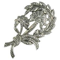 Art Deco Style Flower Leaf Stem Silvertone Vintage Faux Marcasite Brooch