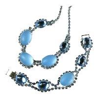 Vintage Blue Moonglow and Cabochon Ovals Necklace and Bracelet Set