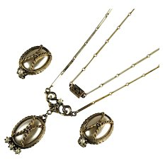 Renaissance Revival Style Imitation Pearl Rope Texture Vintage Necklace Earrings Set