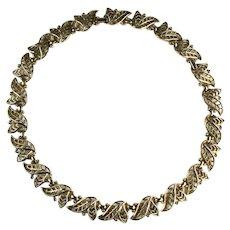 Trifari Golden Laurel Openwork Leaf Design Vintage Necklace