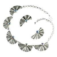 Eloxal Aluminum Aurora Borealis Rhinestone Textured Fan Vintage Necklace Earrings Set