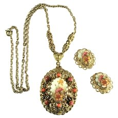 West Germany Sugar Coated Floral Cabochon Shades of Coral Necklace Earrings Set