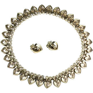 Trifari Heart Crystal Rhinestone Vintage 1940s Necklace Earrings Set