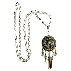Hollycraft Vintage Good Luck Hands Fish Tassel Long Pendant Necklace