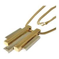 Avon Goldtone and Silvertone Bar Design Modernist Pendant Necklace