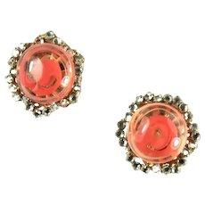 Miriam Haskell Red Orange Swirl Button Rhinestone Vintage 1960s Earrings