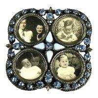 Florenza Blue Rhinestone Cabochon Vintage Photo Picture Frame
