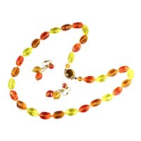 Shades of Yellow Orange Topaz Faceted Plastic Bead Necklace Earrings Vintage Set