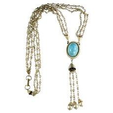 Goldtone Vintage Imitation Turquoise Cabochon Faux Pearl Tassel Boho Necklace