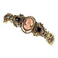 Florenza Vintage Goldtone Cameo Rhinestone Hinged Bracelet