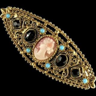 Florenza Vintage Goldtone Cameo Rhinestone Brooch