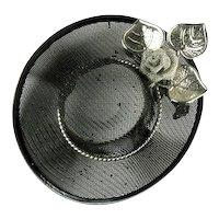 Black Straw Hat Flower Design Vintage Brooch