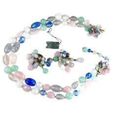 Pastel Pink Lavender Blue Aqua Glass Bead Vintage Necklace Earrings Set
