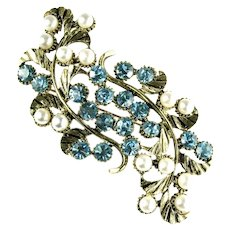Huge Blue Rhinestone Imitation Pearl Vintage Goldtone Brooch