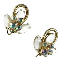 DeLizza and Elster Juliana White AB Rhinestone Vintage Earrings