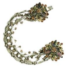 Florenza White Goldtone Five Strand Bead Art Glass Rhinestone Bracelet