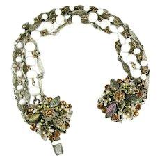 Florenza White Bead Enameled Art Glass Rhinestone Flower Clasp Vintage Bracelet