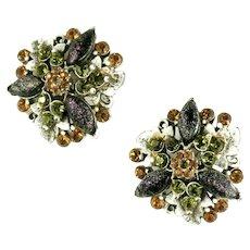 Florenza Art Glass Rhinestone White Wash Enameled Vintage Earrings