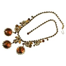 DeLizza and Elster Juliana Shades of Topaz Rhinestone Flower Framed Disks Necklace