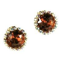 DeLizza and Elster Juliana Shade of Topaz Rhinestone Framed Disks Earrings