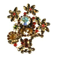 DeLizza and Elster Juliana Shades of Topaz Flowerpot Flowers Brooch