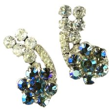 DeLizza and Elster Juliana Blue Crystal Rhinestone Vintage Earrings