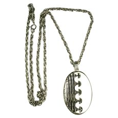 Vintage White Enamel Silvertone Modernist Design Pendant Necklace