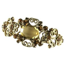 DeLizza and Elster Juliana Shades of Topaz Rhinestones Etched Clamper Bracelet