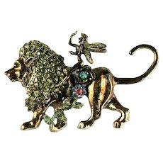 Lion Fairy Flowers Narnia Theme Vintage Rhinestone Brooch