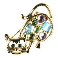 Pastel Cabochons Goldtone Vintage Cat Brooch