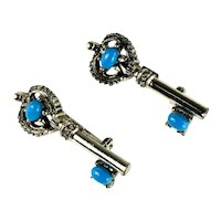Gerrys Vintage Turquoise Colored Cabochon Key Pair of Pins