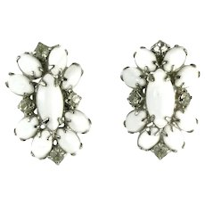 Vintage Chalk White Glass Cabochons Oval Earrings