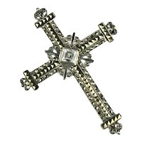 Sterling Silver Marcasite Budded Cross Vintage Brooch