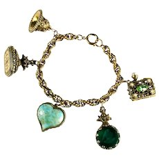 Renaissance Revival Five Fob Vintage Goldtone Charm Bracelet