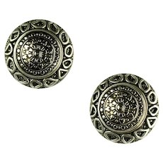 Vintage Silvertone Round Domed Textured Earrings