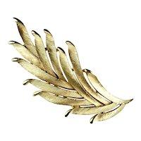 Trifari Feather Leaf Goldtone Textured Brooch