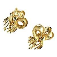Lisner Vintage Goldtone Ribbon Bow Earrings