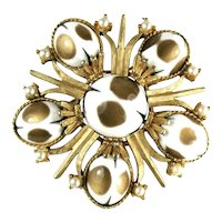 Cathe White Black Gold Colored Cabochon Vintage Brooch