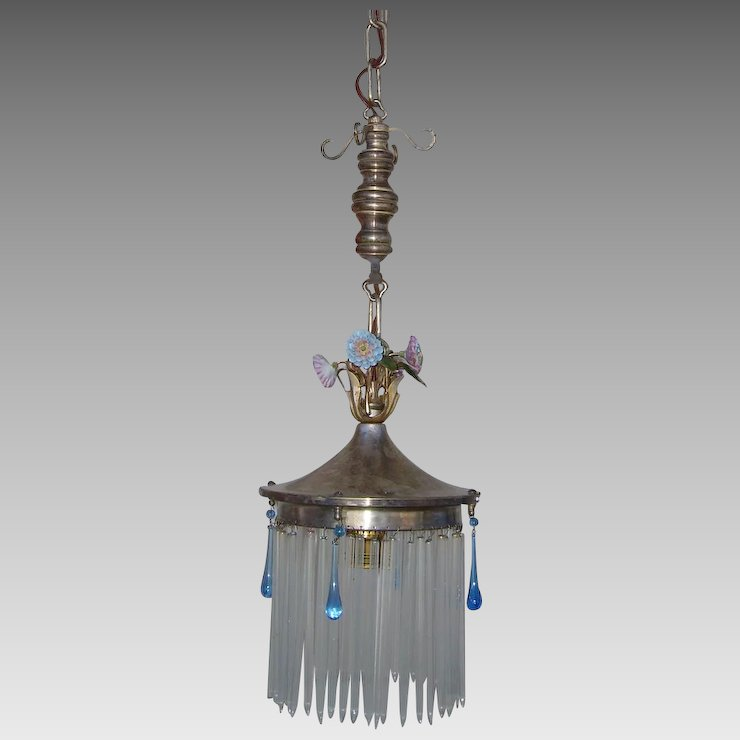 Delightful Charming One Light Chandelier Pendant With Porcelain Flowers And Clear Glass Straws Cobalt